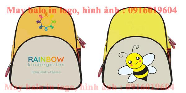 May balo màu vàng phối ghi, in logo cho trường RAIBOW Kinderggarten tại Hà Nội