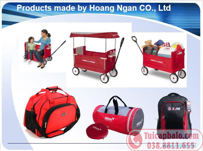 các sản phẩm balo túi xách xuất khẩu may tại nhà máy sản xuất của Hoàng Ngân