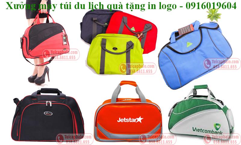 Xưởng may túi du lịch quà tặng in thêu logo