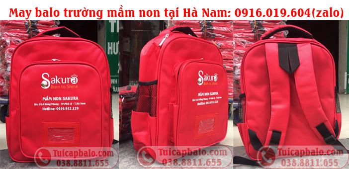 May balo đồng phục trường mầm non in logo và tên trường tại Hà Nam